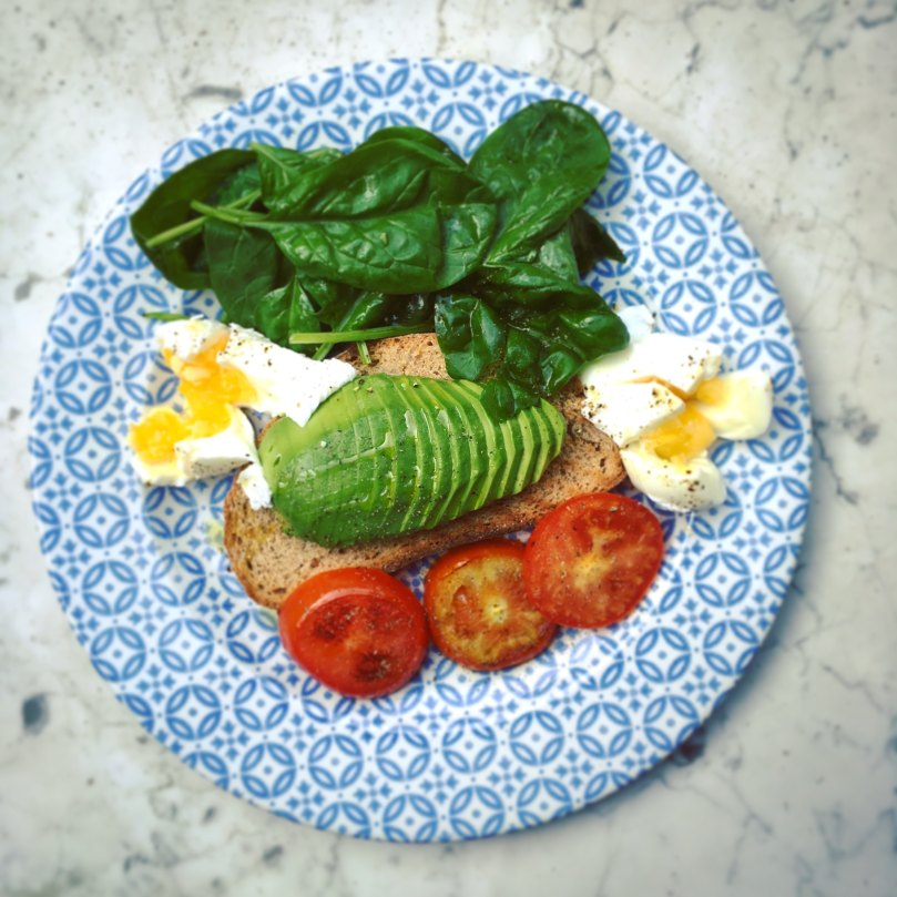 meal with spinach, egg, chicken, avocado, tomato