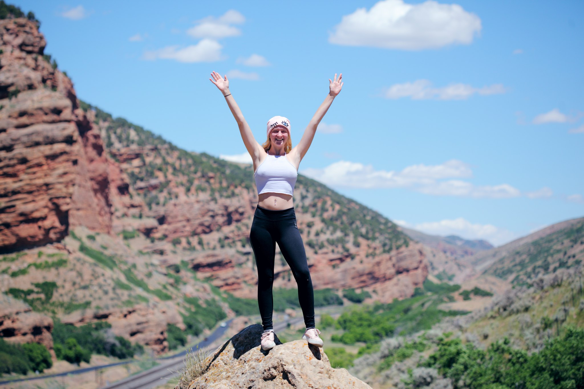 woman on a mountain